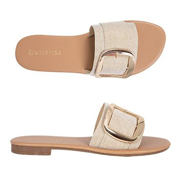 Athens By Wildfire Casual Flat Sandal Slide Buckle Trim Womens