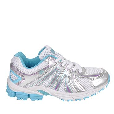 Blue and silver trainer shoe