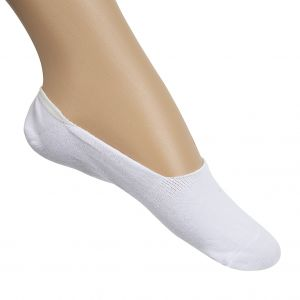 Ladies White/Grey Invisible Socks 2pk Size 6-9